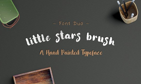 Print on Demand: Little Stars Brush Script & Handwritten Font By Ijem RockArt