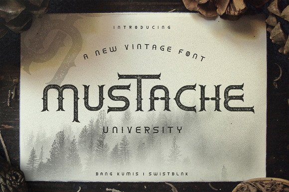 Print on Demand: Mustache University Display Font By Bang Kumis Typefoundry