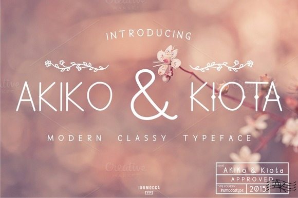 Akiko and Kiota Display Font By inumocca_type