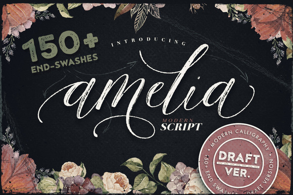 Print on Demand: Amelia Script - Draft Version Script & Handwritten Font By Blessed Print
