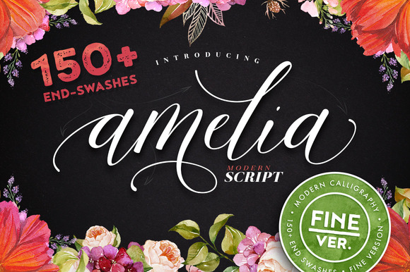Print on Demand: Amelia Script - Fine Version Script & Handwritten Font By Blessed Print