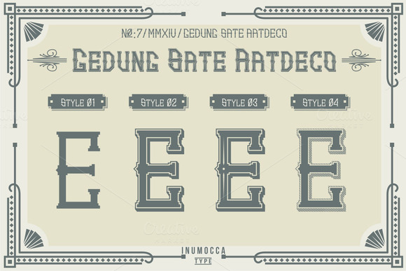 Print on Demand: Artdeco Display Font By inumocca_type - Image 3