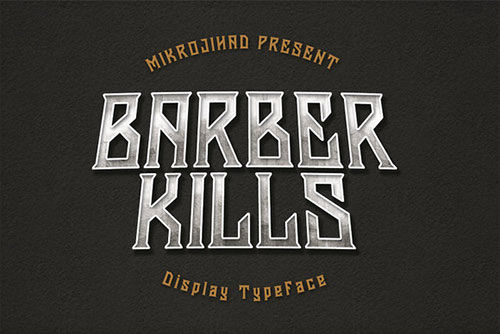 Print on Demand: Barberkills Display Font By Mikrojihad Typefounder