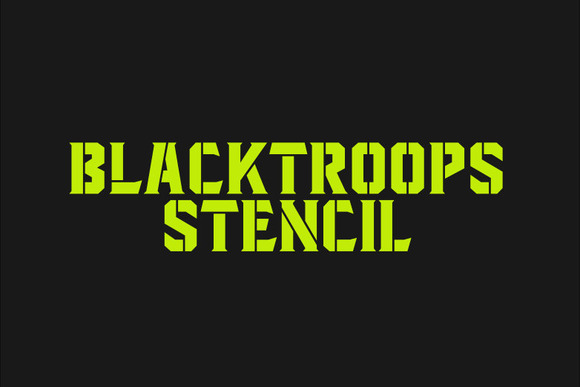 Print on Demand: Blacktroops Stencil Display Font By Mikrojihad Typefounder