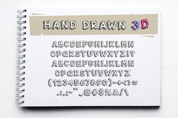 Print on Demand: Hand Drawn 3D Letters and Numbers Display Font By Voysla's Shop