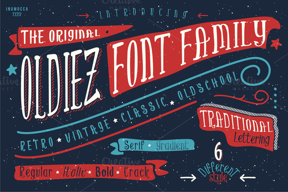 Print on Demand: Oldiez Font Family Display Font By inumocca_type