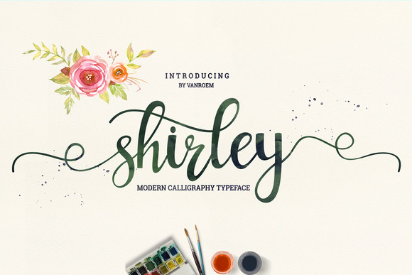 Print on Demand: Shirley Script & Handwritten Font By VanRoem