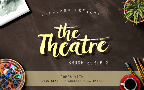 Print on Demand: The Theatre Brush Script & Handwritten Font By barland