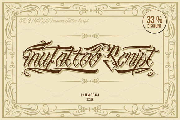 Print on Demand: InuTattoo Script Display Font By inumocca_type