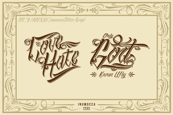 Print on Demand: InuTattoo Script Display Font By inumocca_type - Image 3