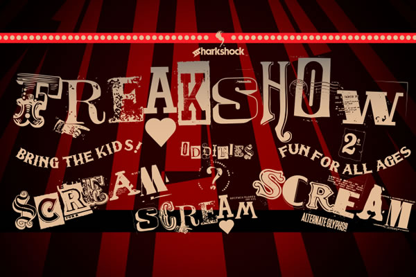 Print on Demand: Freakshow Display Font By Sharkshock