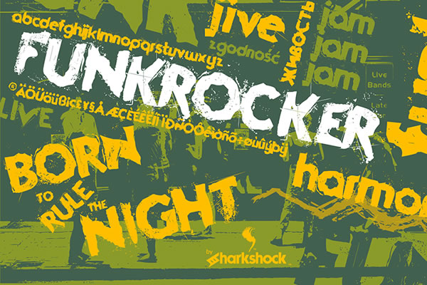 Print on Demand: Funkrocker Display Schriftarten von Sharkshock
