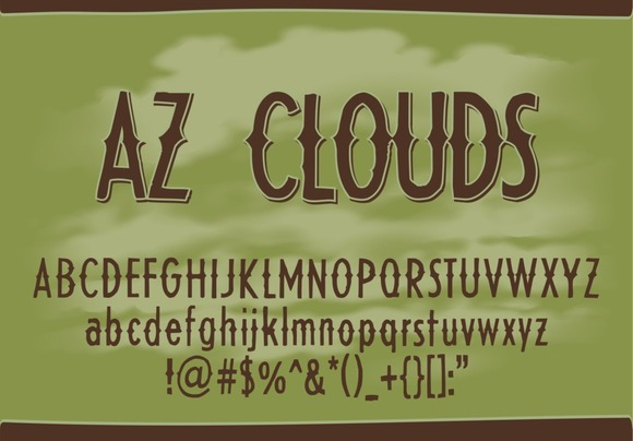 Print on Demand: AZ Clouds Display Font By Artistofdesign