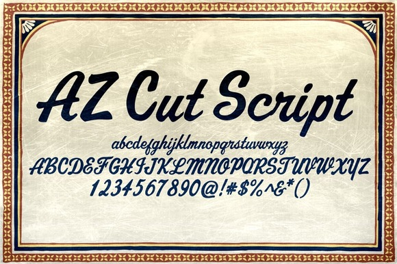 Print on Demand: AZ Cut Script Script & Handwritten Font By Artistofdesign