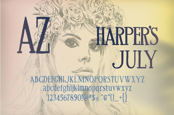 Print on Demand: AZ Harpers July Serif Font By Artistofdesign