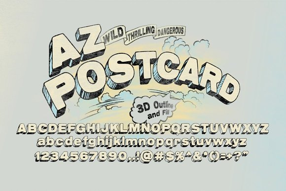 Print on Demand: AZ Postcard 3D Display Font By Artistofdesign