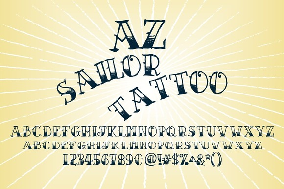 Print on Demand: AZ Sailor Tattoo Serif Font By Artistofdesign