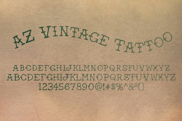 Print on Demand: AZ Vintage Tattoo Serif Font By Artistofdesign