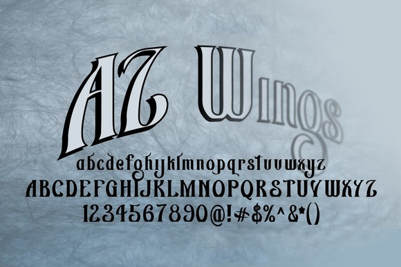 Print on Demand: AZ Wings Blackletter Font By Artistofdesign