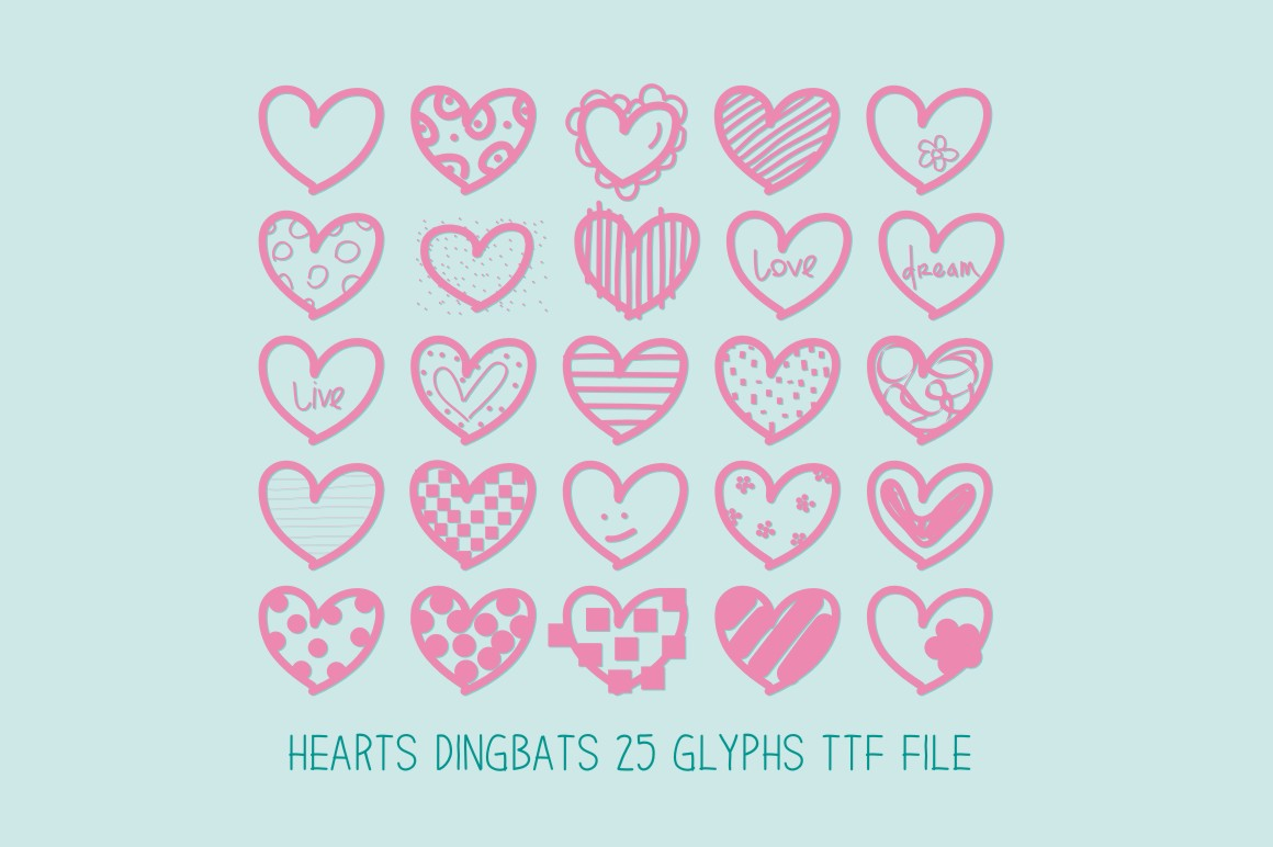 Hearts Dingbats Font By Carolina Mejia