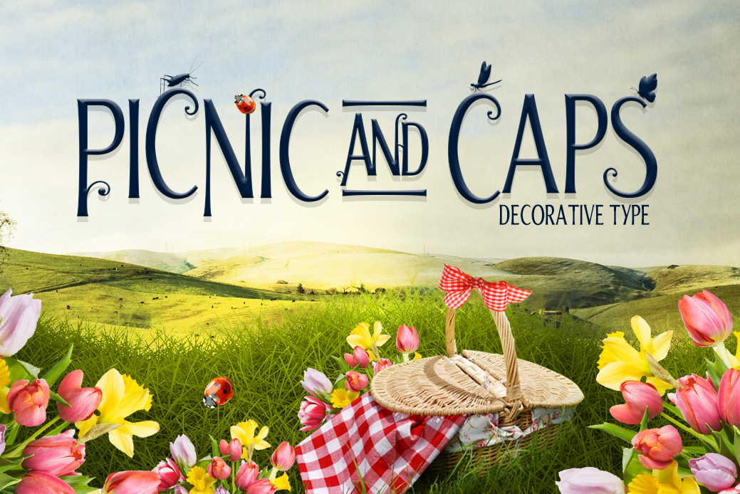 Print on Demand: Picnic Caps Sans Serif Font By DesignSomething