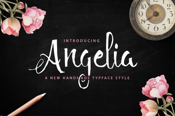Print on Demand: Angelia Script Script & Handwritten Font By QueenType