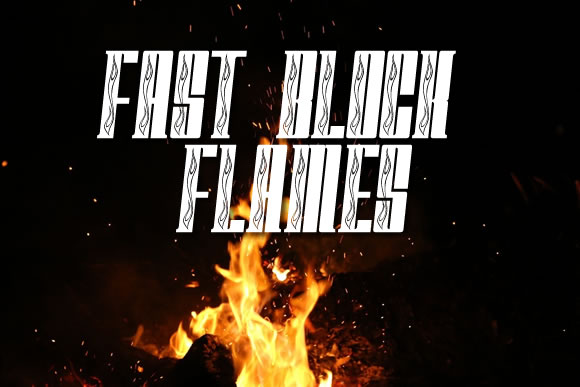 Print on Demand: Fast Block Flames Decorative Font By jeffbensch