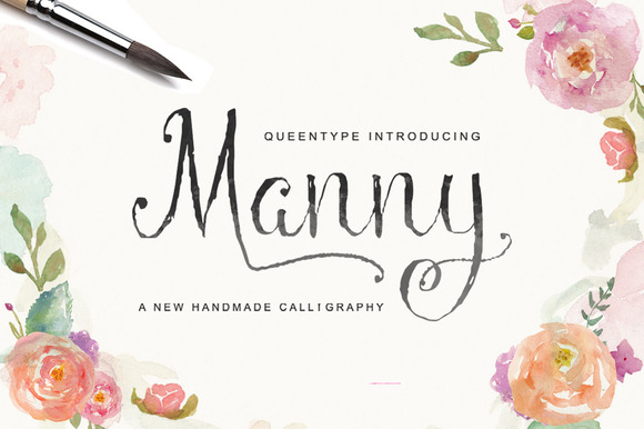 Print on Demand: Manny Script Script & Handwritten Font By QueenType
