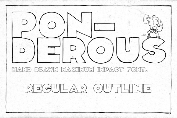 Print on Demand: Ponderous Regular Outline Display Schriftarten von Dawnland
