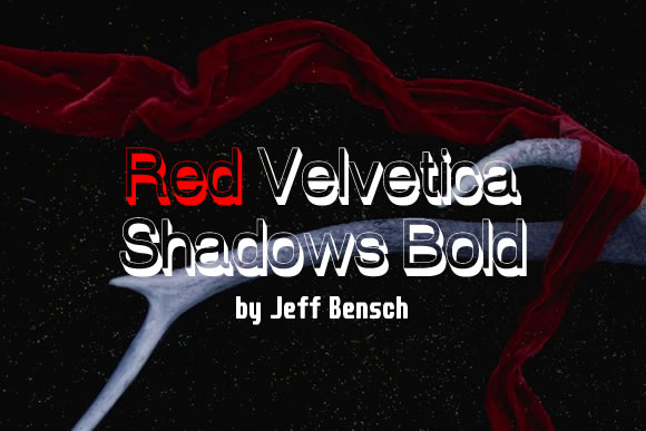 Print on Demand: Red Velvetica Shadows Bold Sans Serif Font By jeffbensch