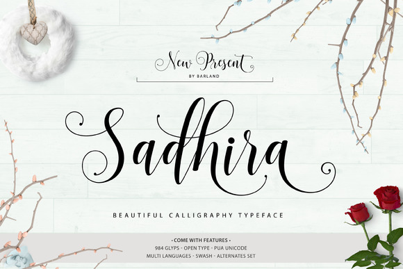 Print on Demand: Sadhira Script Script & Handwritten Font By barland