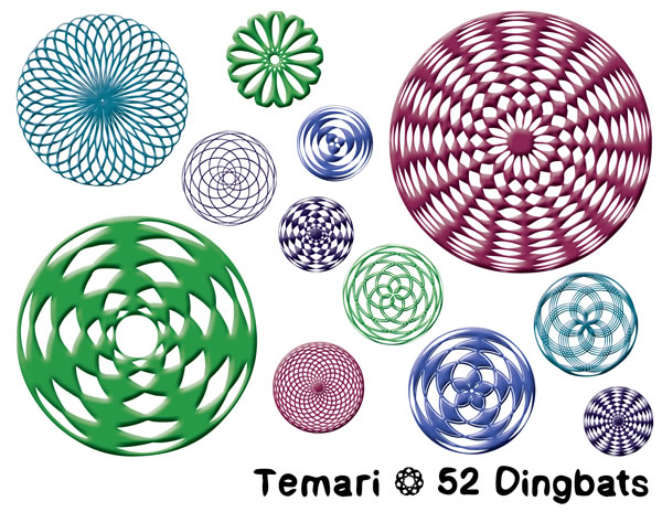Print on Demand: Temari Dingbats Font By Sharasfonts