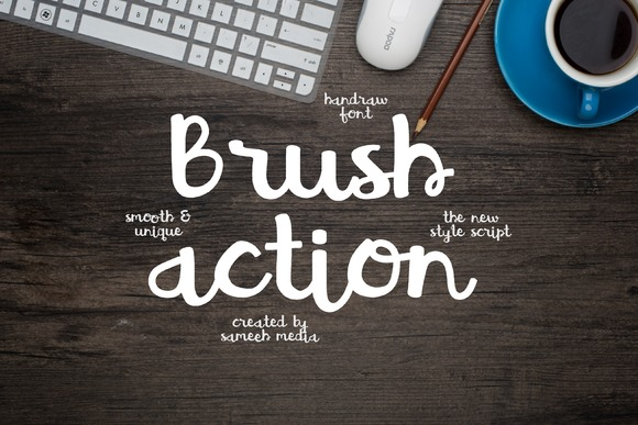 Print on Demand: Brush Action Script & Handwritten Font By Sameeh Media