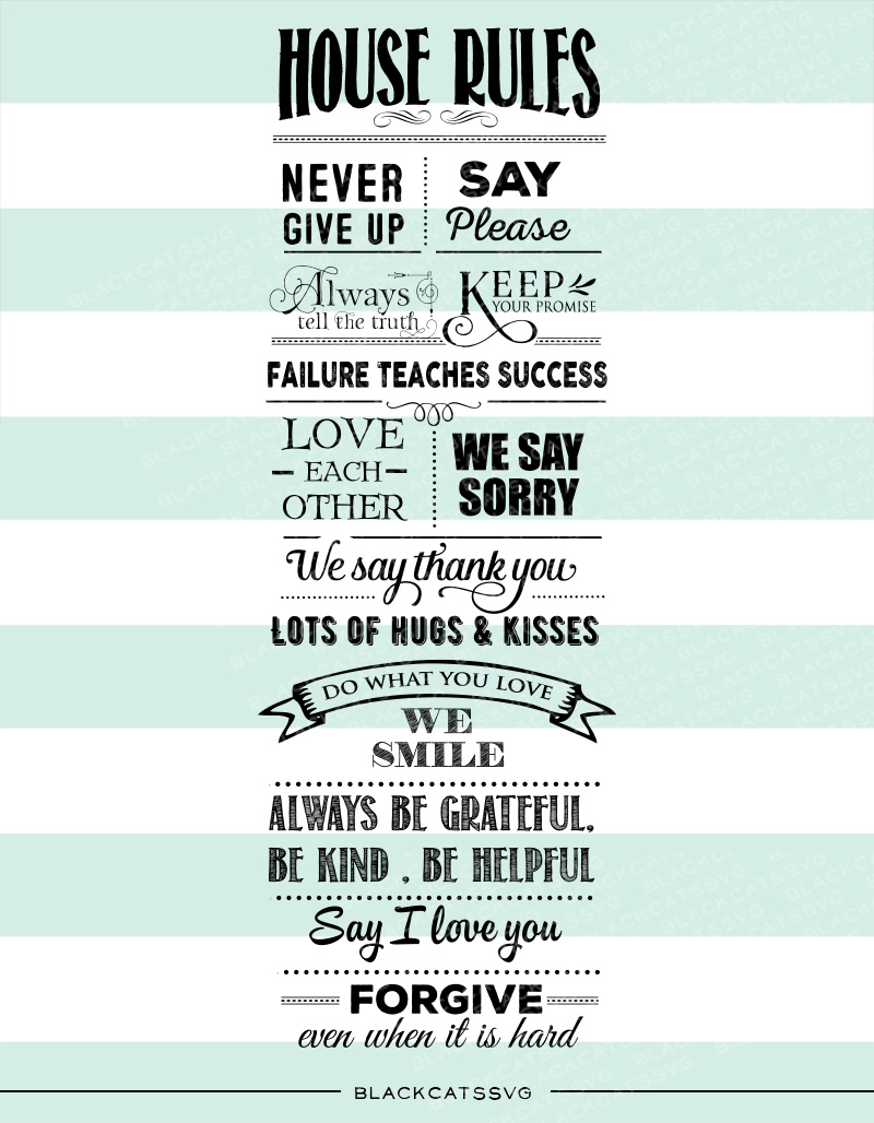 Download Free House Rules Sign Archivos De Corte Svg Por Blackcatssvg for Cricut Explore, Silhouette and other cutting machines.