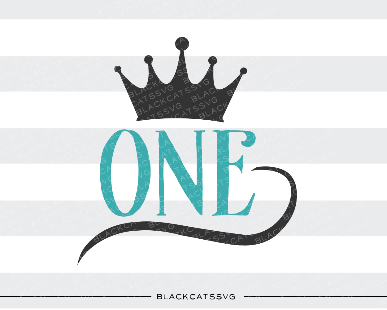 One - Crown Kids Craft Cut File By BlackCatsSVG