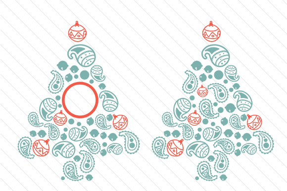 Download Free Paisley Christmas Tree Regular Monogram Frame Svg Cut File for Cricut Explore, Silhouette and other cutting machines.