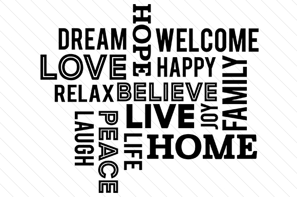 Family / Home / Love Wordcloud Zitate Plotterdatei von Creative Fabrica Crafts