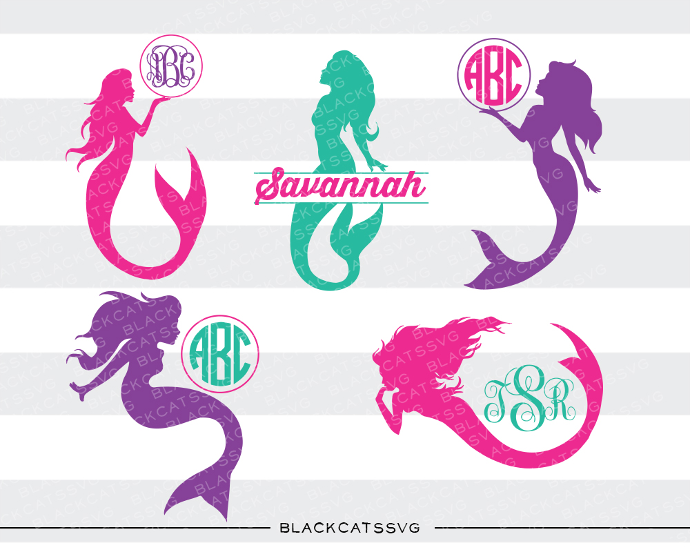 Mermaids Monogram Frames Fairy tales Craft Cut File By BlackCatsSVG