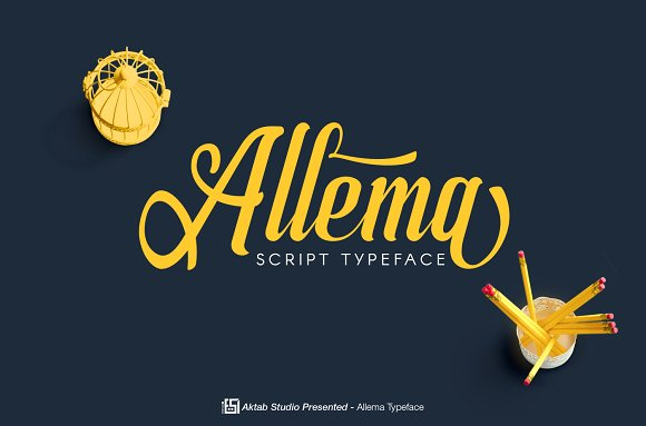 Print on Demand: Allema Script & Handwritten Font By Aktab Studio