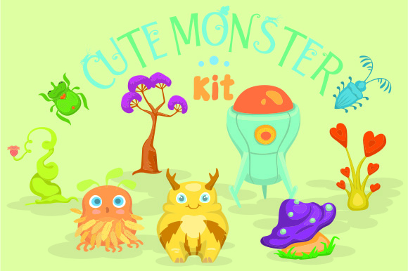 Cute Monster Kit Free Version Craft Design By Creative Fabrica Freebies