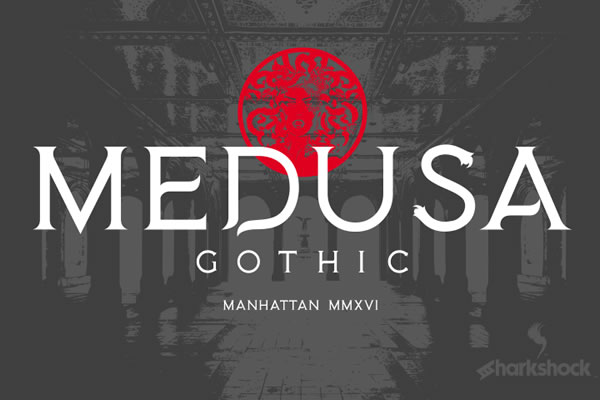 Print on Demand: Medusa Gothic Display Font By Sharkshock