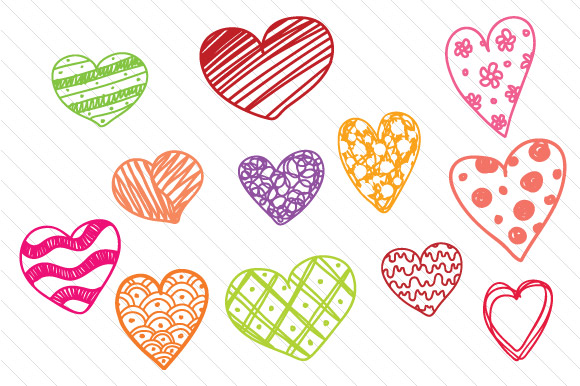 Set of 12 Hand Drawn Hearts Craft Design By Creative Fabrica Freebies