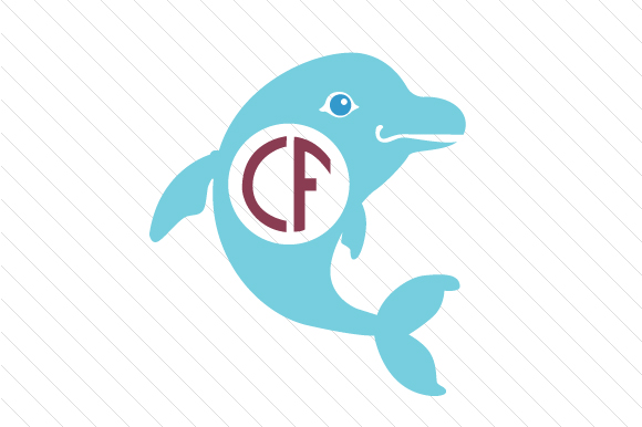 dolphin monogram frame svg cut file by creative fabrica crafts