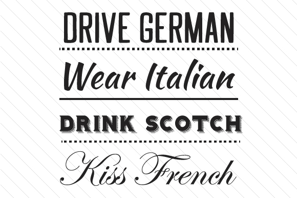 Download Free Drive German Wear Italian Drink Scotch Kiss French Svg Cut File for Cricut Explore, Silhouette and other cutting machines.