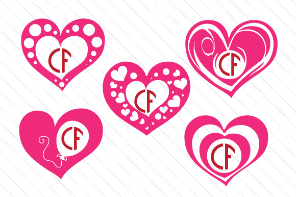 Heart Monogram Frame Set - Freebie Craft Design By Creative Fabrica Freebies