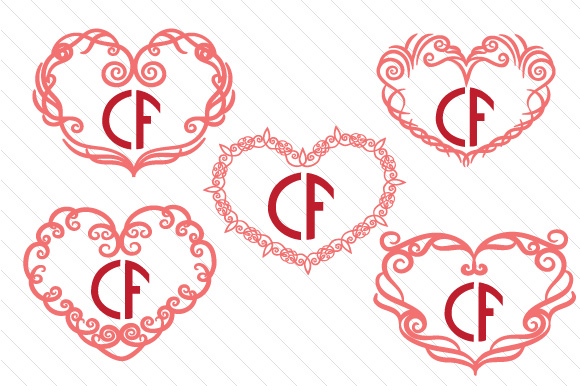 Download Free Heart Monogram Frame Set 4 Svg Cut File By Creative Fabrica for Cricut Explore, Silhouette and other cutting machines.