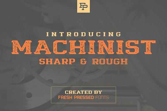 Print on Demand: Machinist Display Schriftarten von Fresh Pressed Fonts
