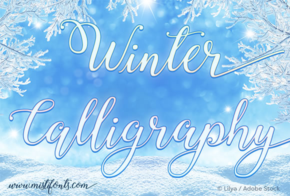 Print on Demand: Winter Calligraphy Script & Handwritten Font By Misti