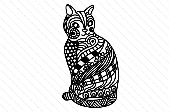 Zentangle Cat Cats Craft Cut File By Cut Cut Palooza