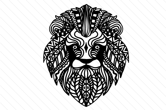 Zentangle Lion Zentangle Plotterdatei von Cut Cut Palooza